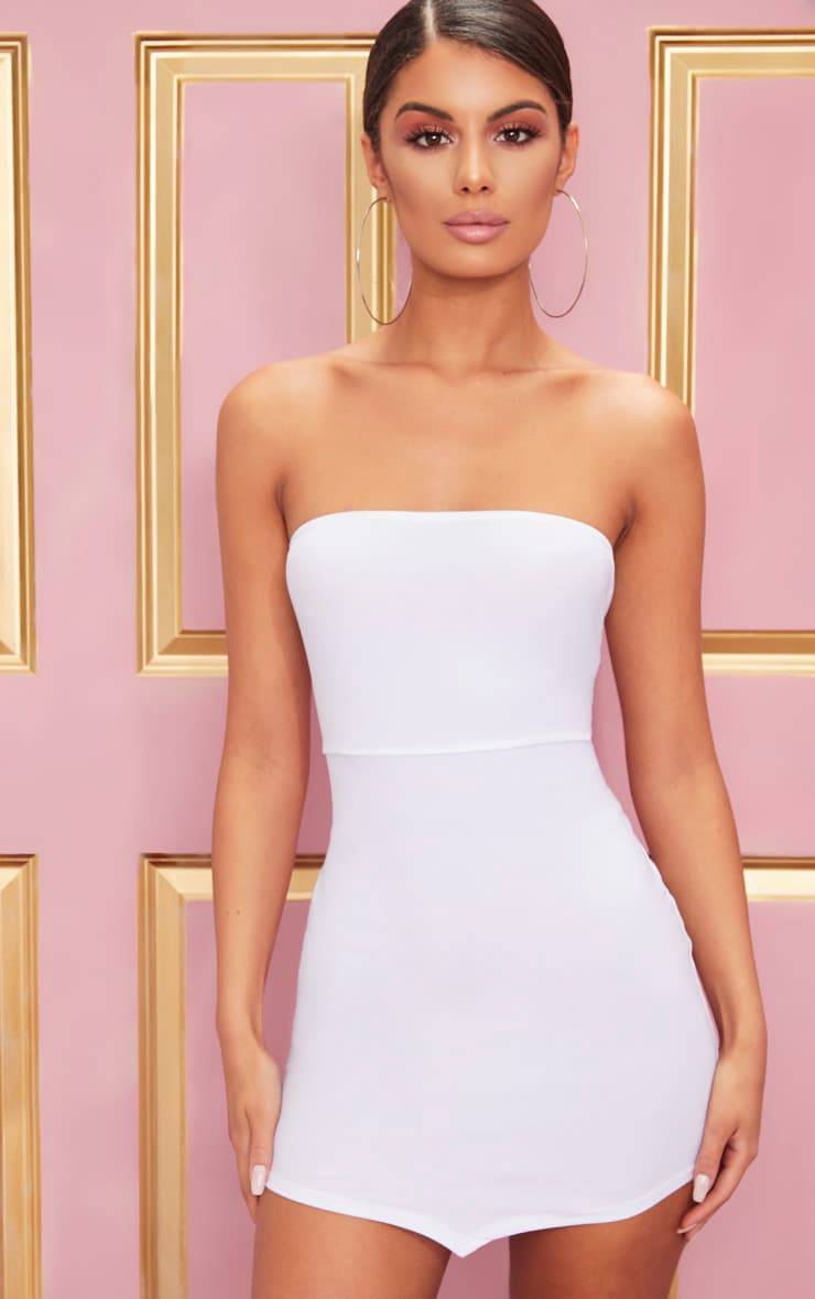 White Bandeau Pointy Hem Bodycon Dress 4