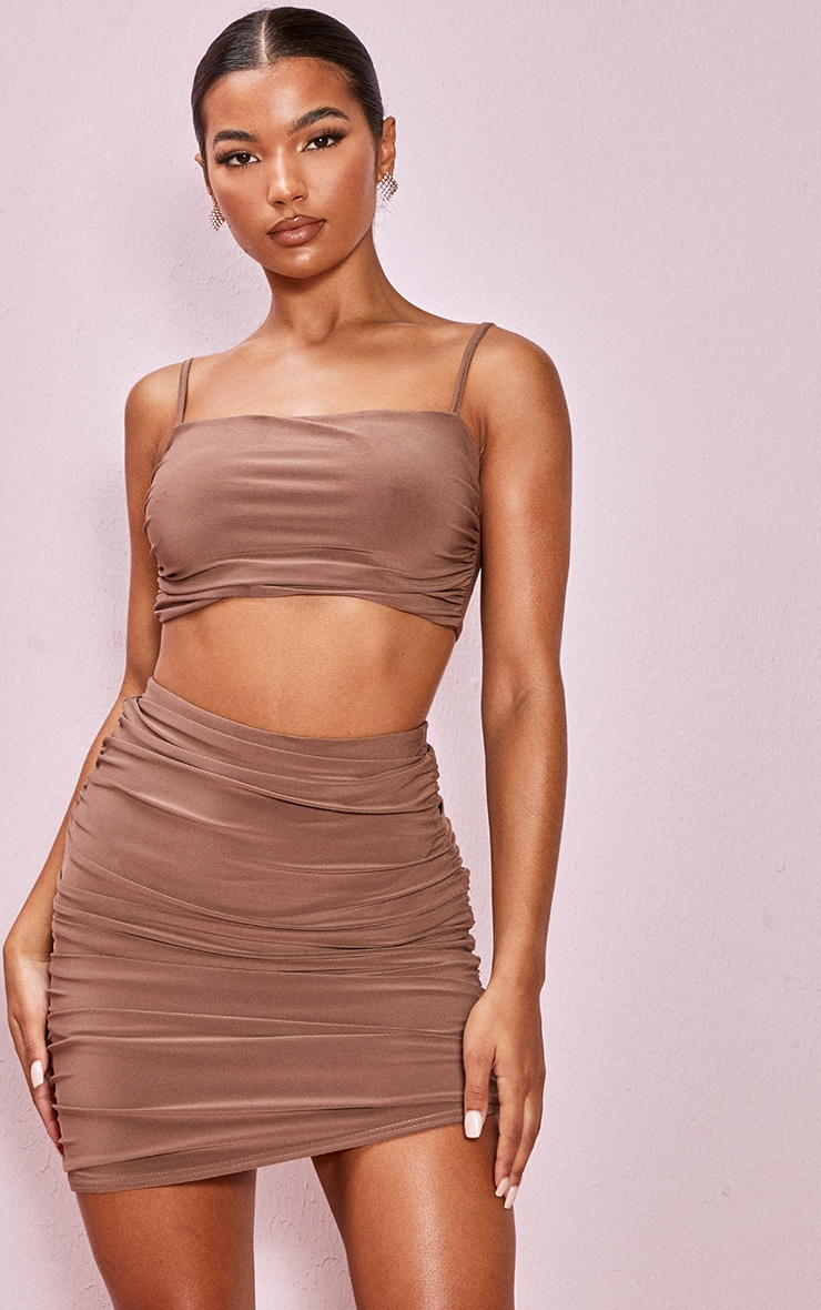 Light Brown Slinky Ruched Detail Longline Strappy Top 1