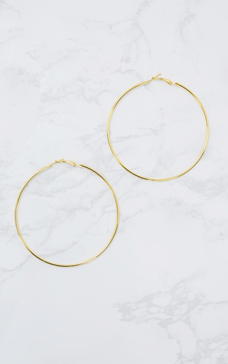 Gold 80mm Hoop Earrings 4