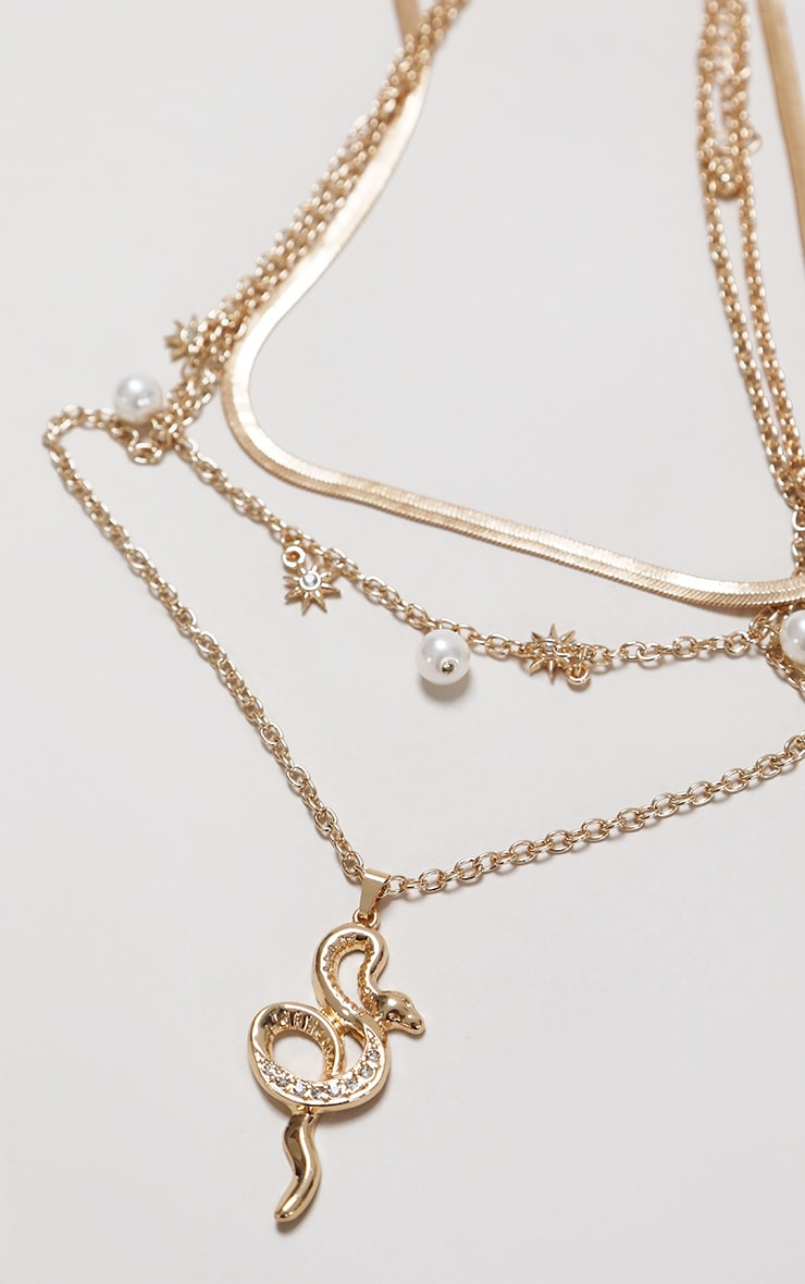 Gold Pearl And Snake Layering Necklace 5