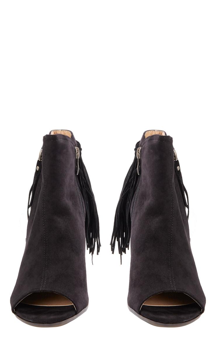 Cameron Black Suede Fringe Heeled Boots  2