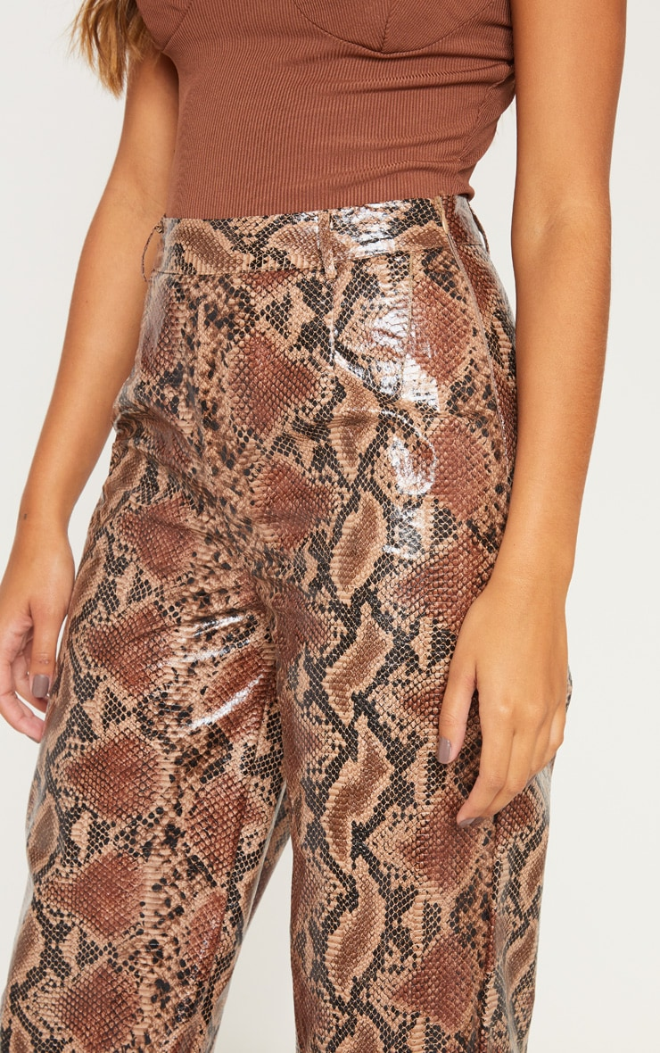 Tan Faux Leather Snakeskin Wide Leg Pants 5