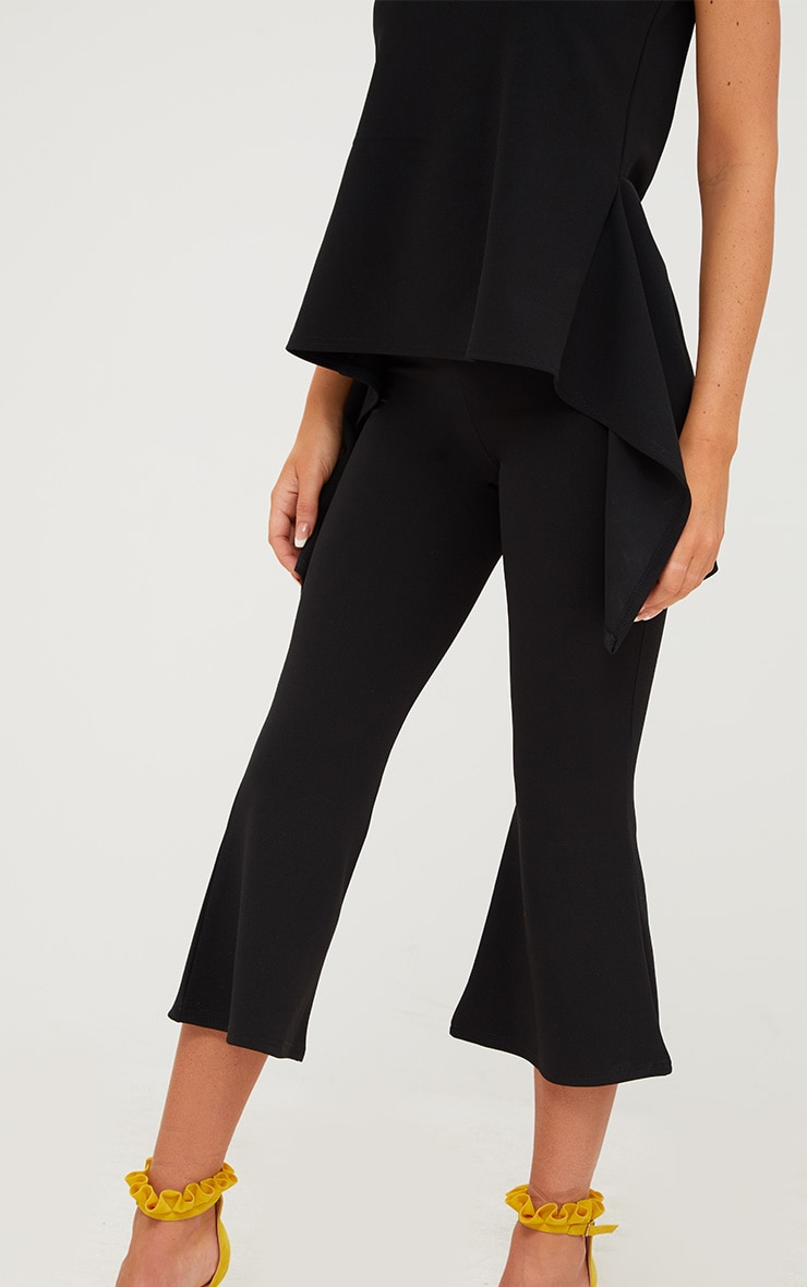Black Cropped Flare Trousers 5