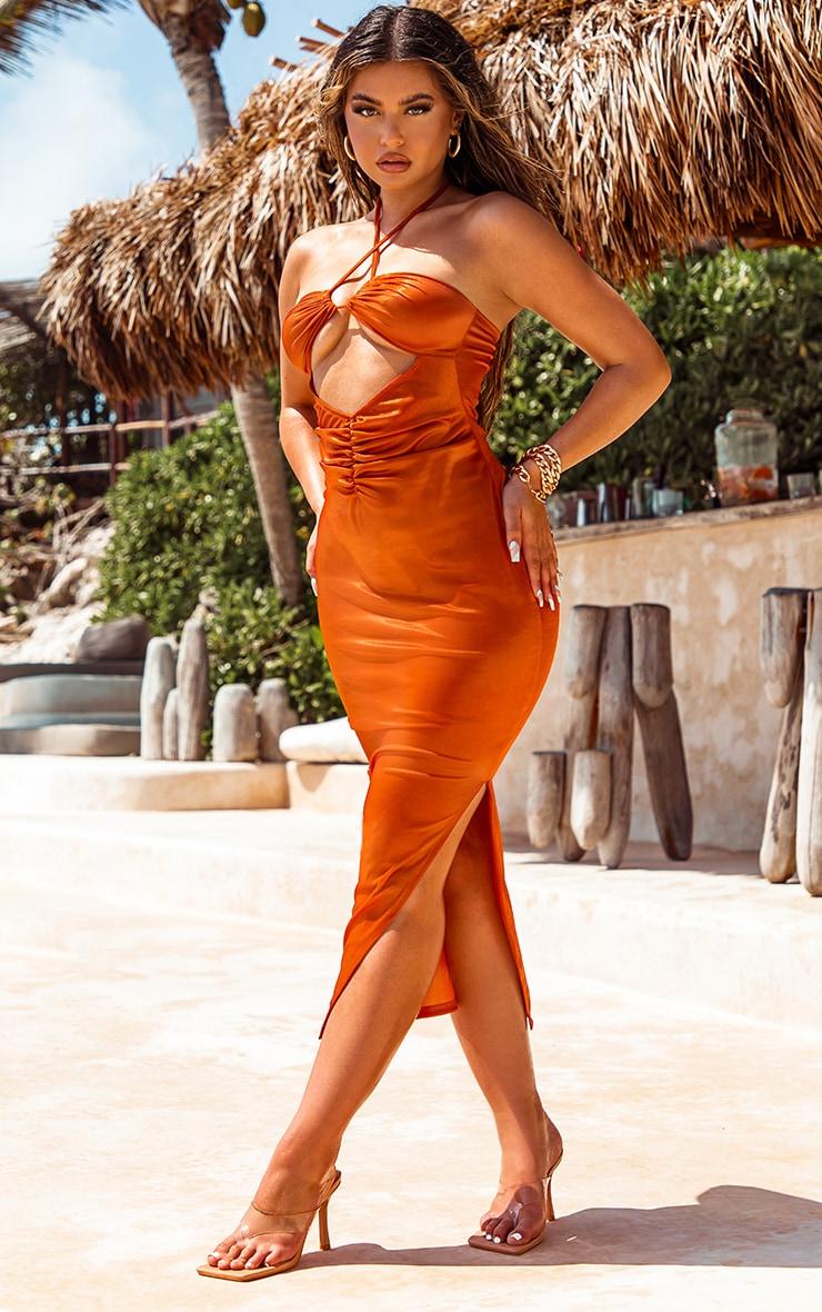 Orange Metallic Midaxi Cut Out Slip Beach Dress 1