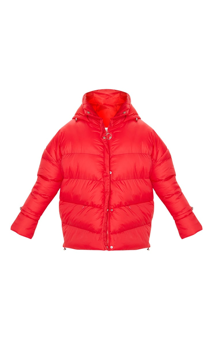 Bright Red Hooded Puffer Jacket 3
