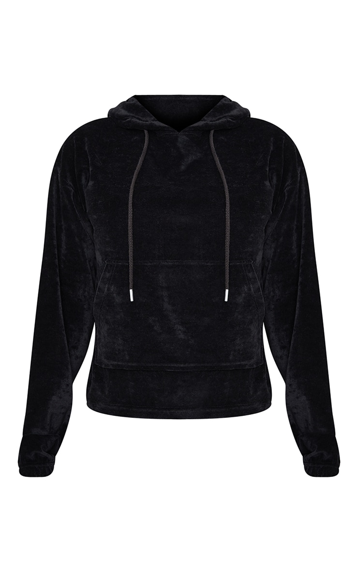 Tall Black Velour Cropped Hoodie 5