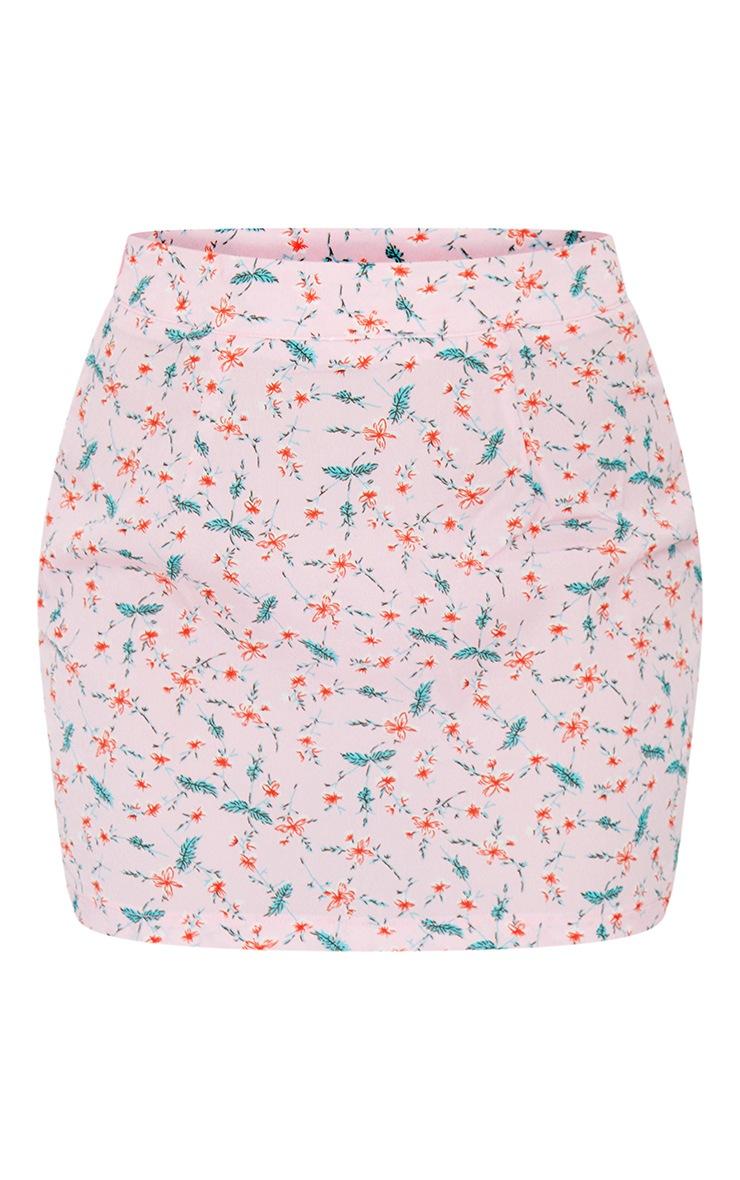 Petite Pink Floral Woven Mini Skirt 6