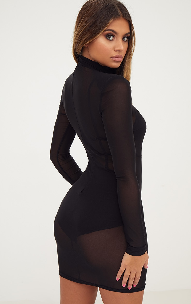 Black Sheer Mesh High Neck Bodycon Dress ...