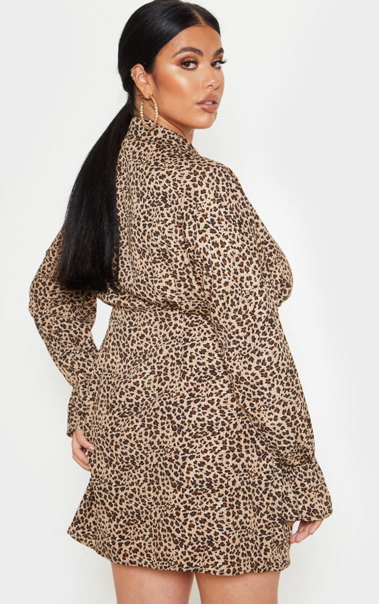Plus Brown Leopard Print Collar Detail Shirt Dress 2
