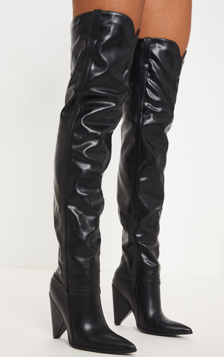 Black Cone Heel Thigh High Western Boot 1