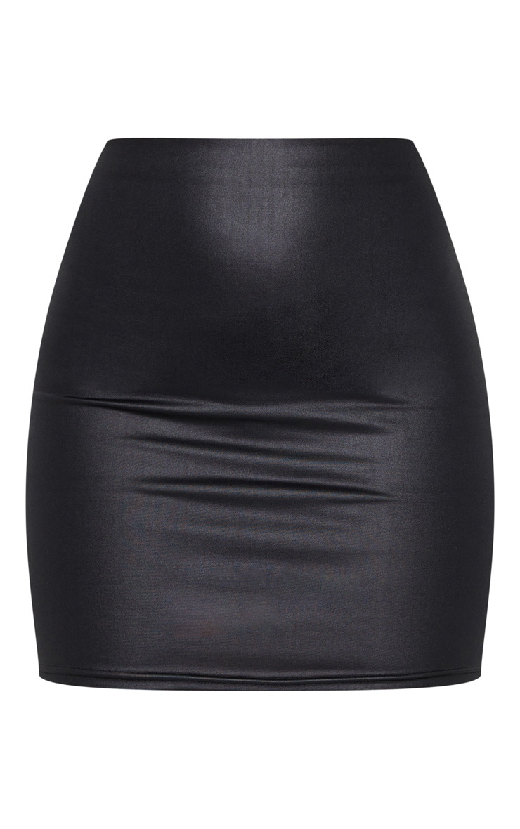 Black Leather Look Mini Skirt 6