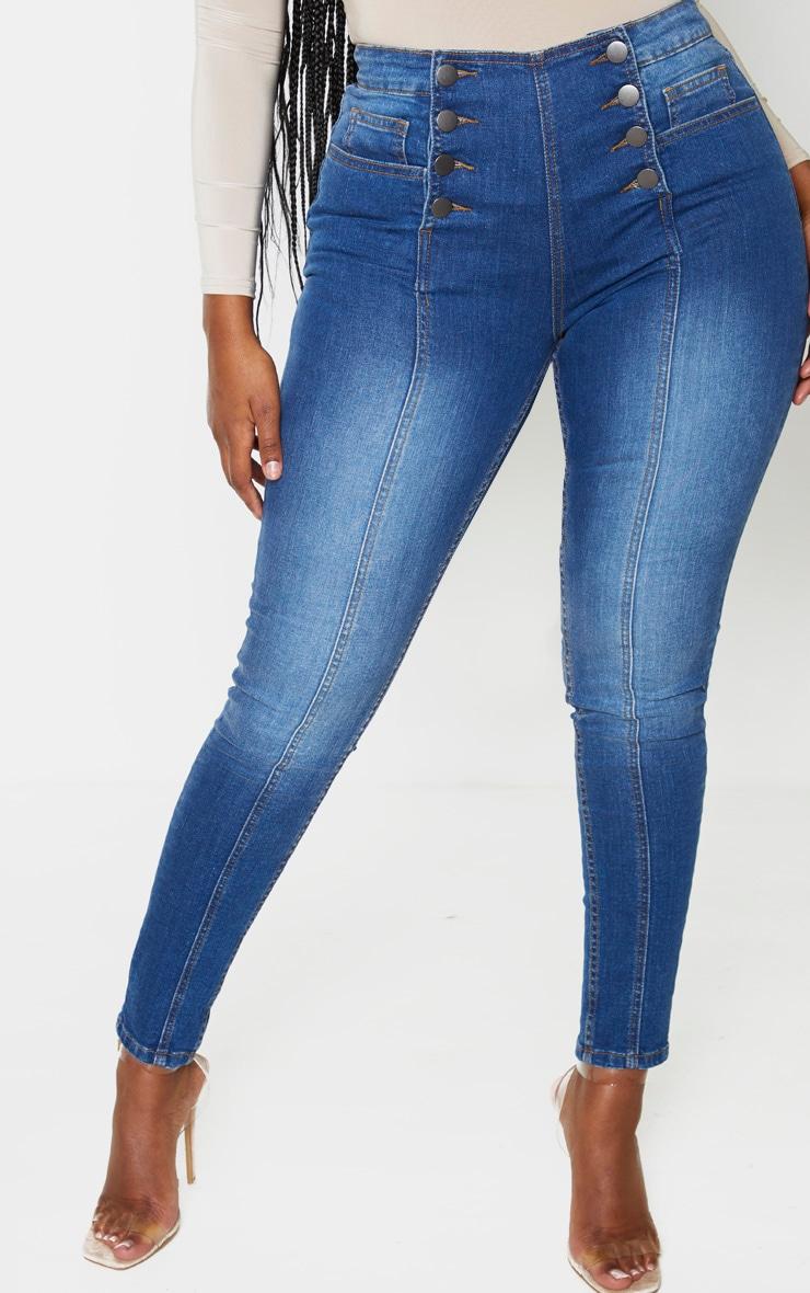 Shape Dark Wash Button Front High Waist Skinny Jeans 2