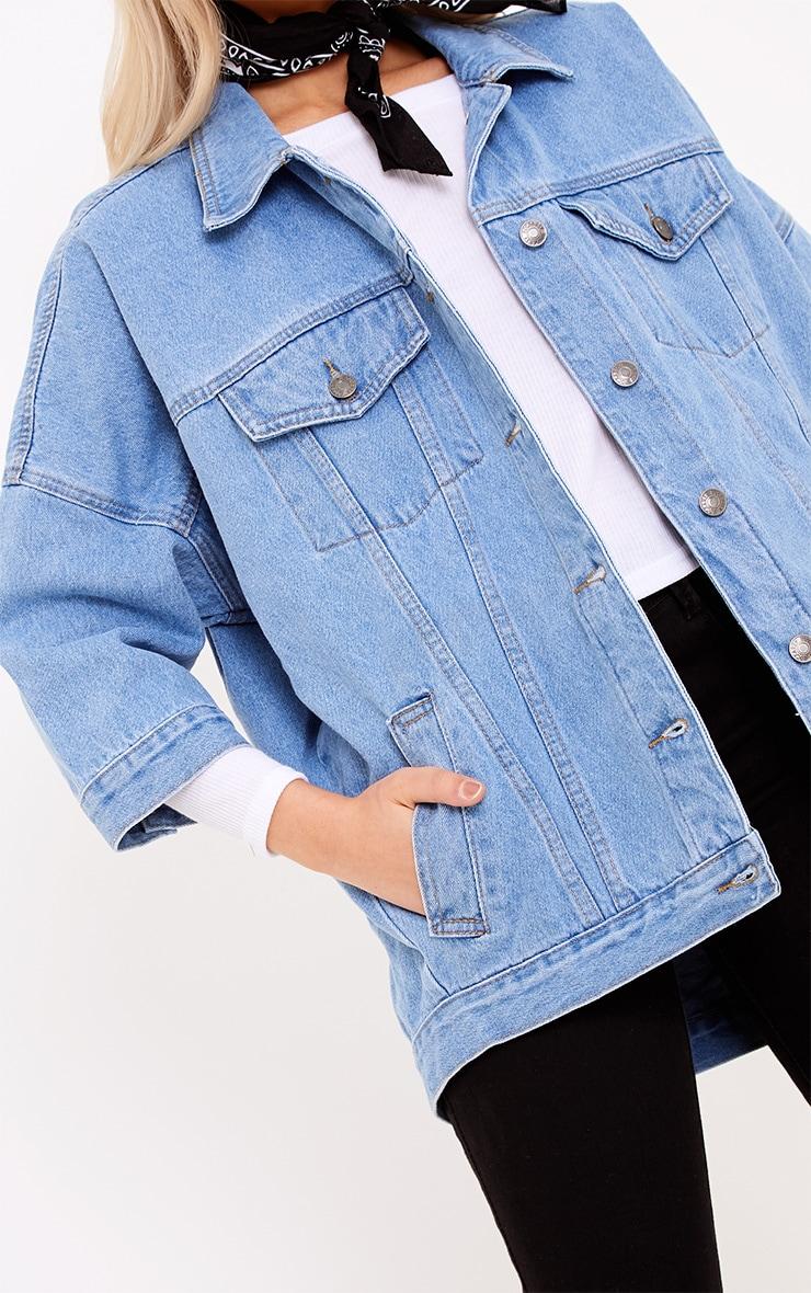 blue light wash cropped sleeve oversized denim jacket
