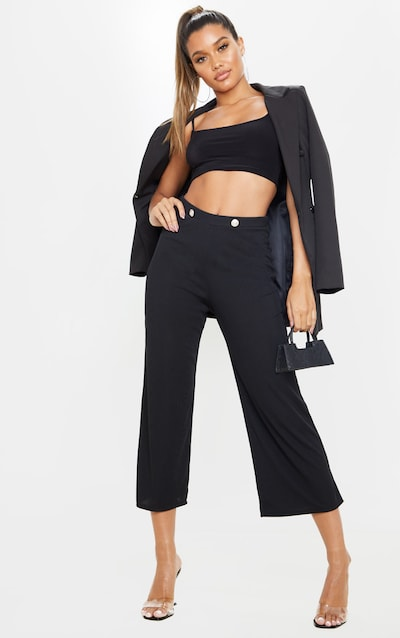 Black Button Detail Ribbed Culotte