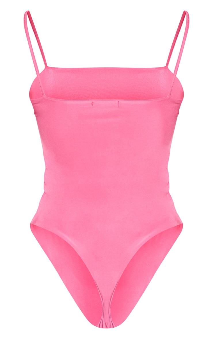 Hot Pink Straight Neck Cami Bodysuit 4