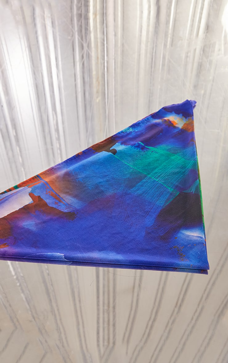 Blue Abstract Print Mesh Bandana 2