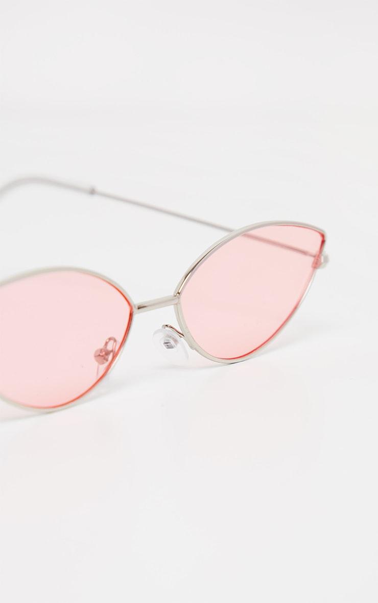 Pink Metal Almond Cat Eye Sunglasses 4