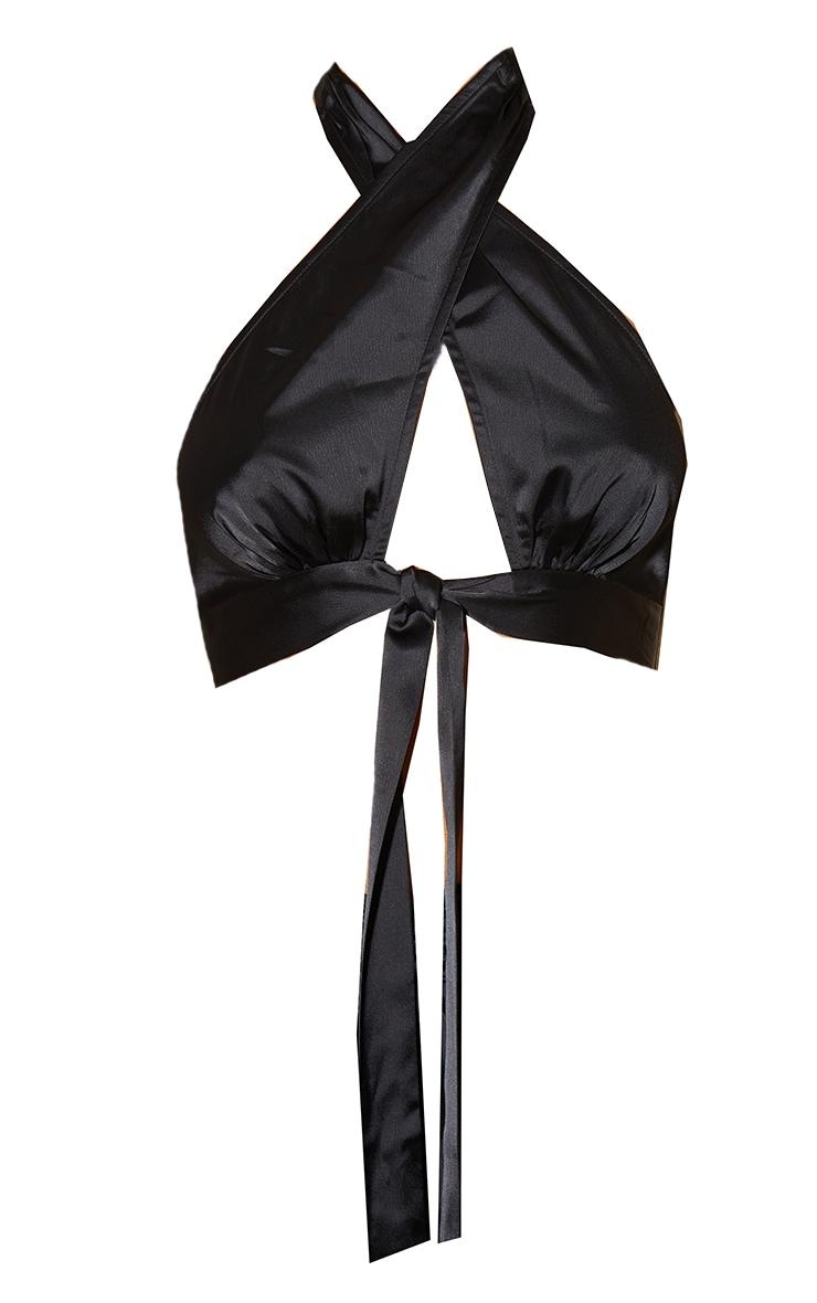 Black Satin Cross Front Halterneck Tie Detail Crop Top 5