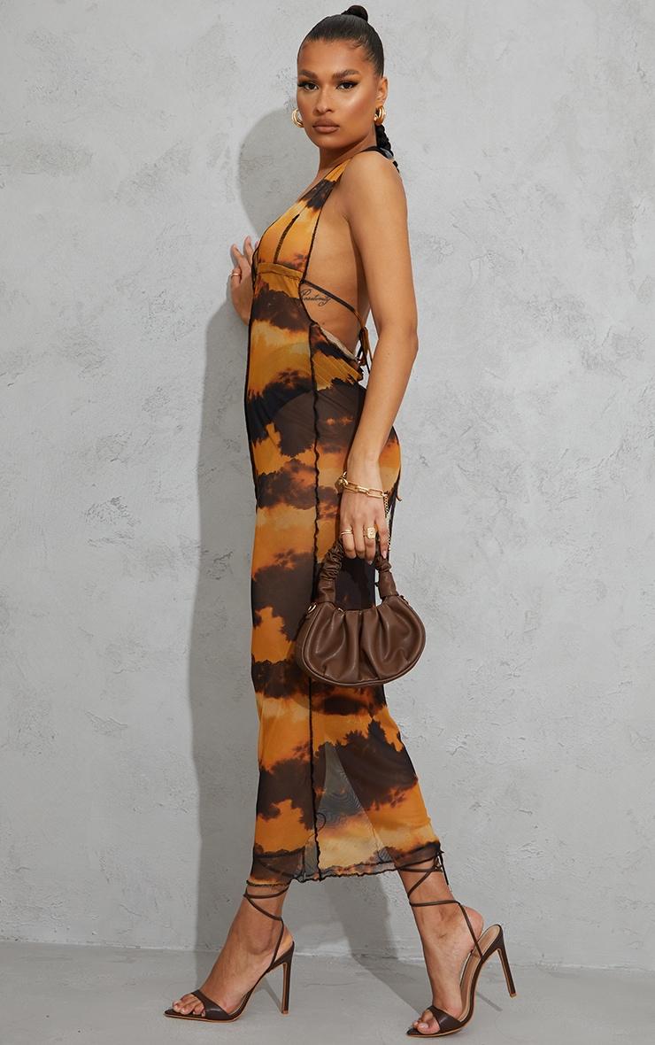Orange Tie Dye Print Sheer Mesh Halterneck Tie Back Maxi Dress 3