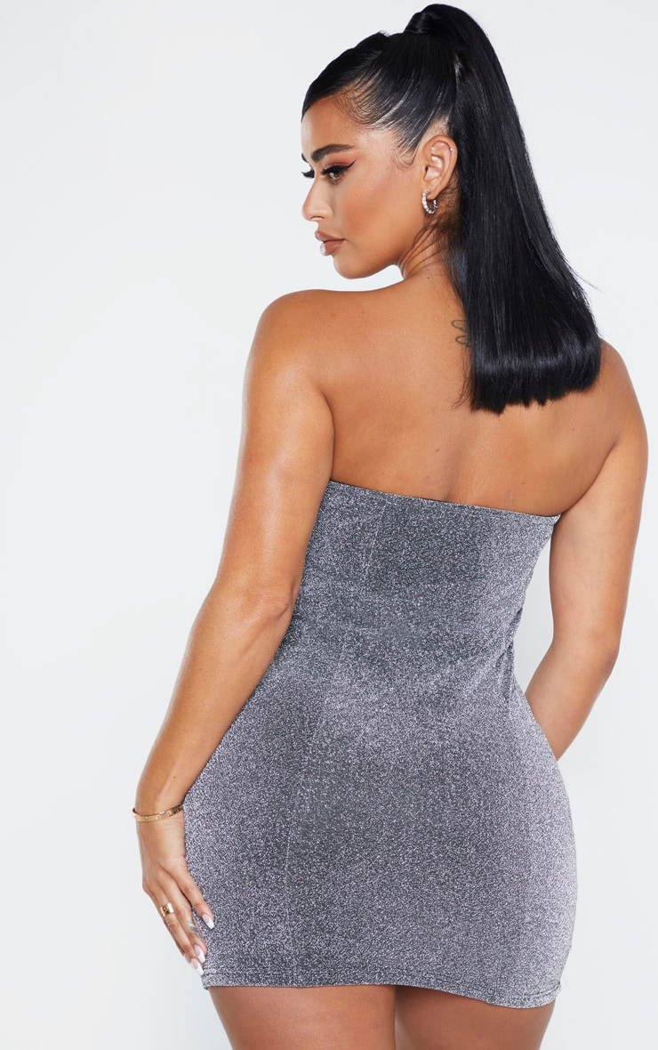Shape Silver Glitter Cup Detail Bodycon Dress 3