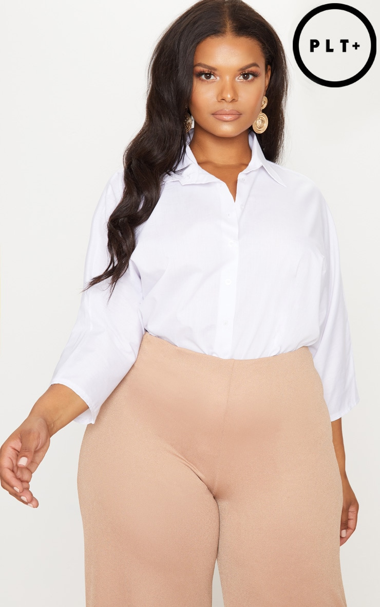 Plus White Oversized Batwing Cropped Shirt