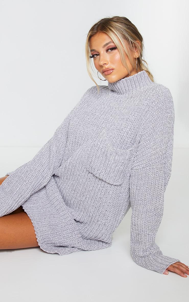 Light Grey Chenille Jumper Dress 1