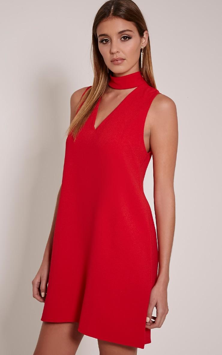 Cinder Red Choker Detail Loose Fit Dress 4