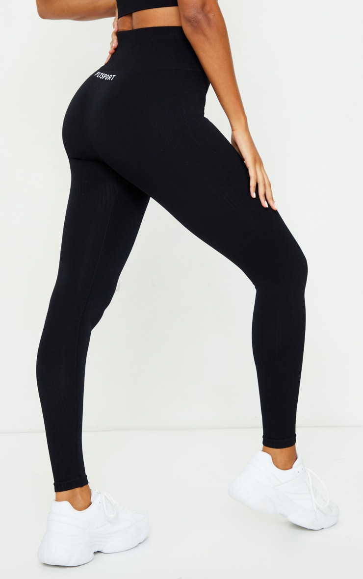 PRETTYLITTLETHING Black Textured Rib Seamless High Waist Gym Legging 3