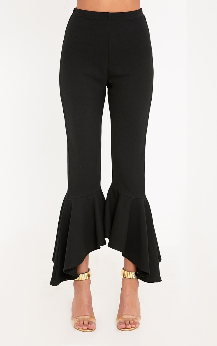 Lourdes Black Asymmetric Flare Hem Trousers 2