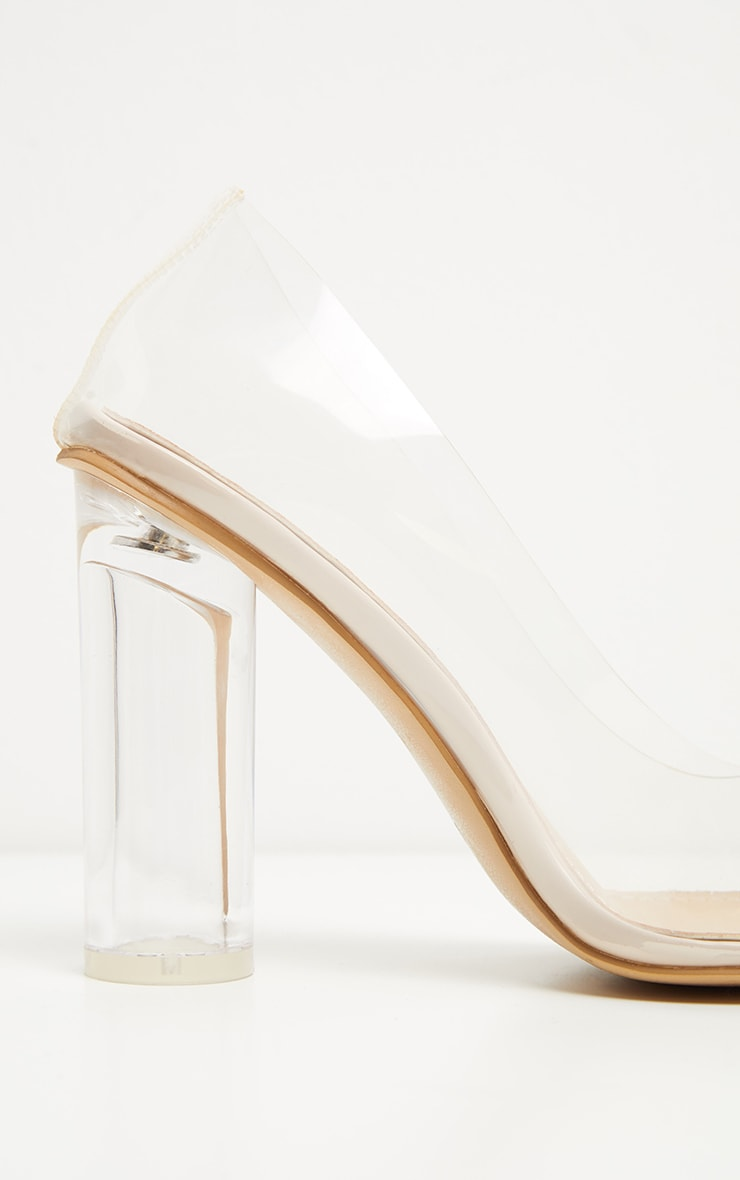Nude Block Heel Clear Court  4