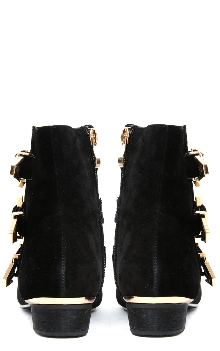 Katerina Black Suede Triple Buckle Ankle Boot 4