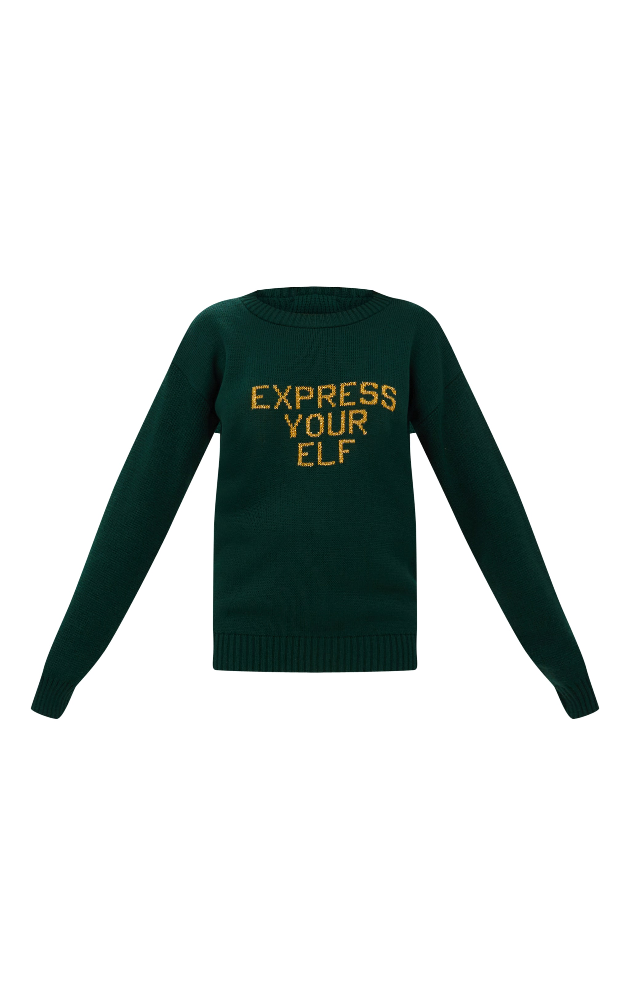 Forest Green Express Your Elf Christmas Sweater 3