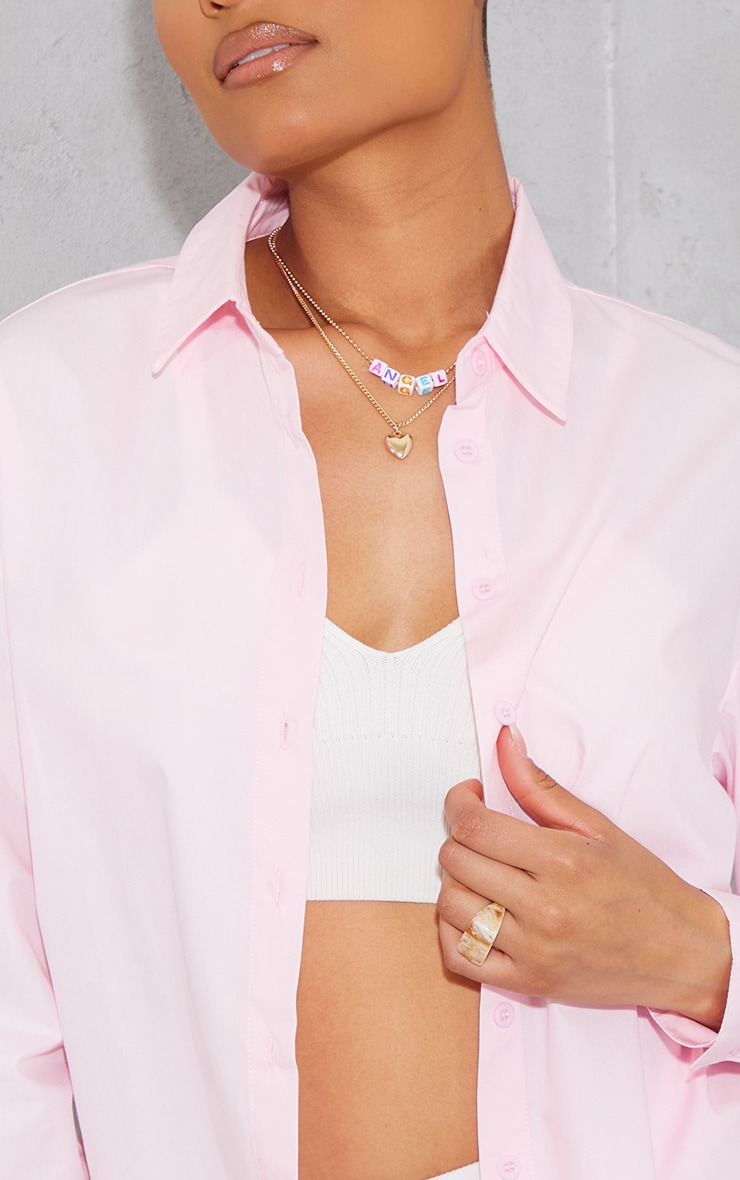 Baby Pink Button Cotton Oversized Shirt 4