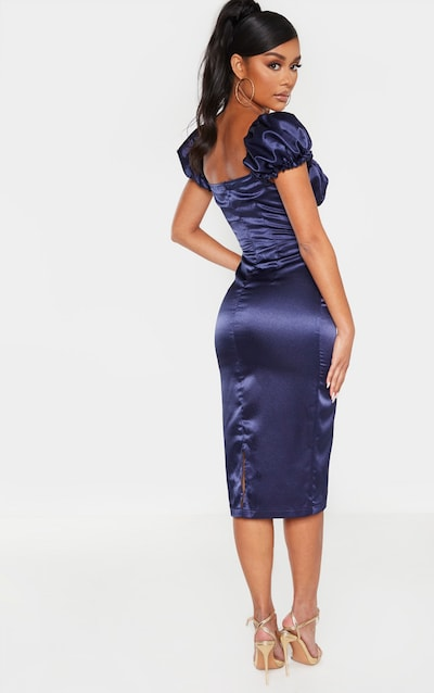 Navy Satin Puff Sleeve Frill Button Detail Midi Dress
