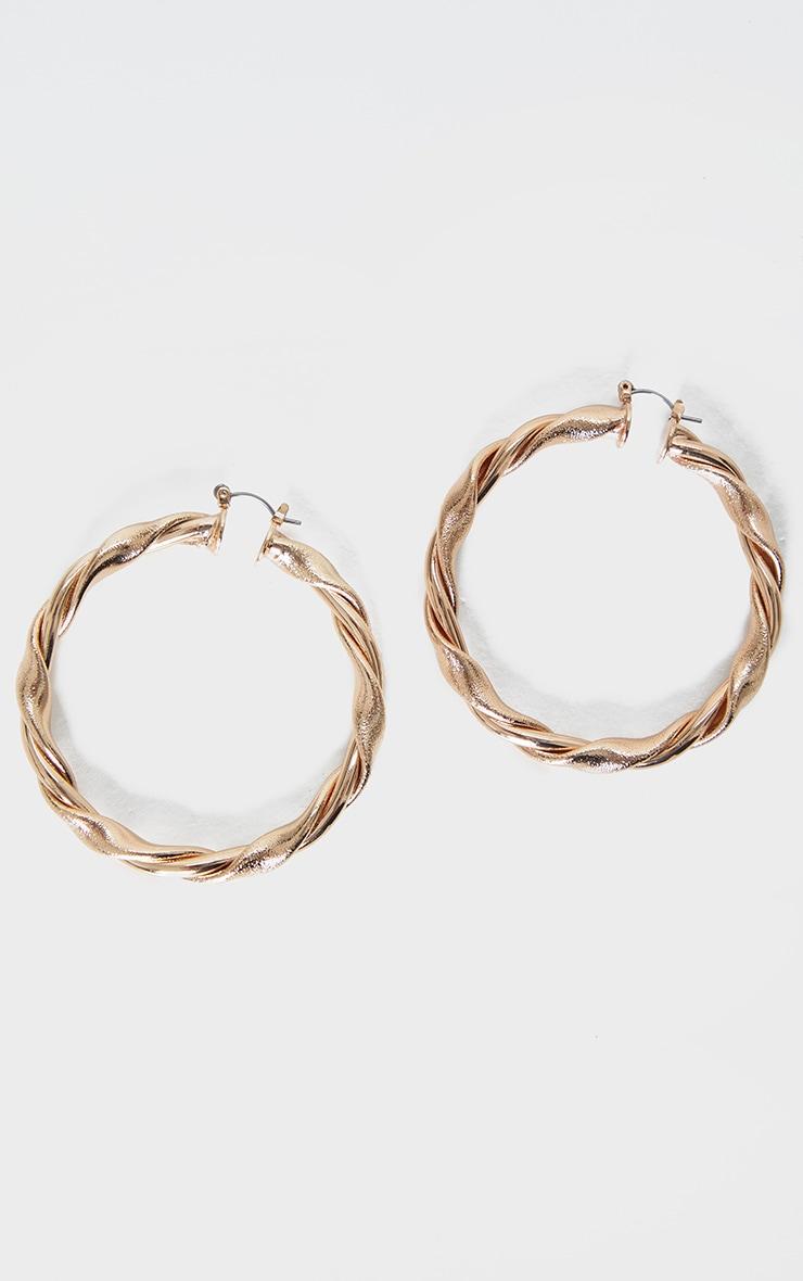 Gold Twist Hoop Earrings 2