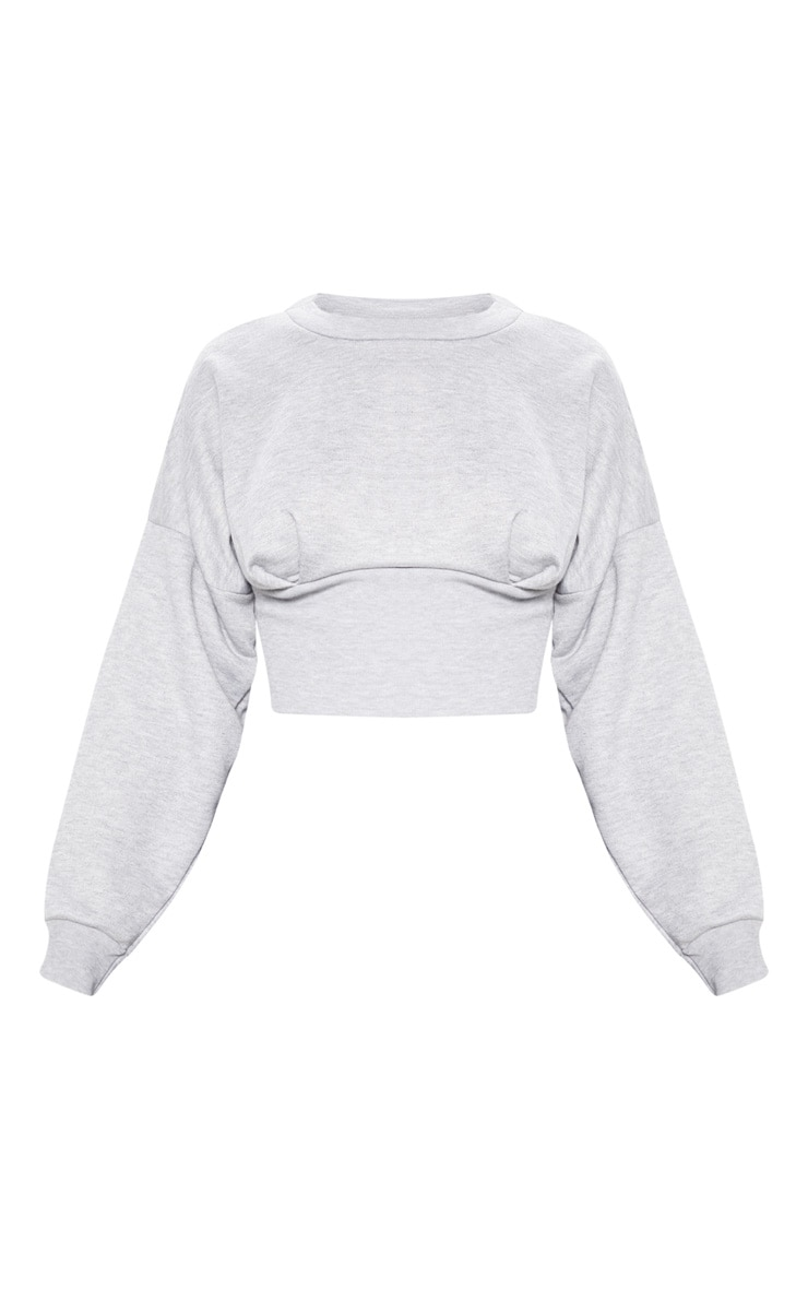 Grey Rib Extreme Hem Crop Sweater 3