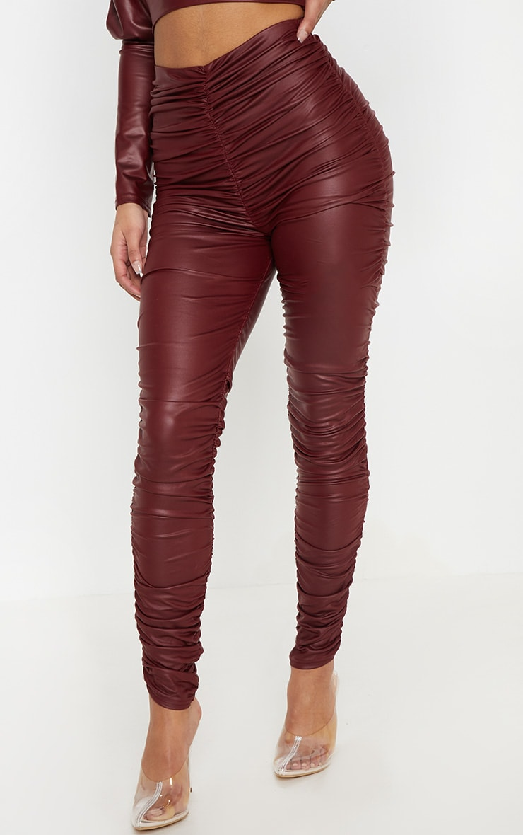 Maroon Coated Ruched Side Legging 2