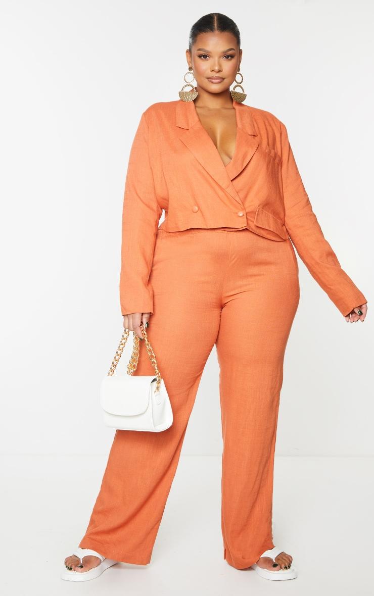 PLT Plus - Blazer court orange brûlé à double boutonnière 1