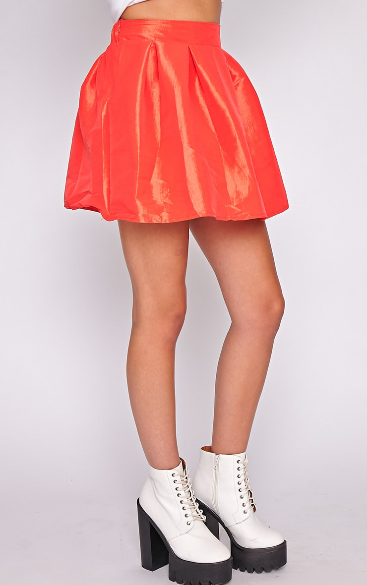 Jemima Red Structured Skater Skirt  3