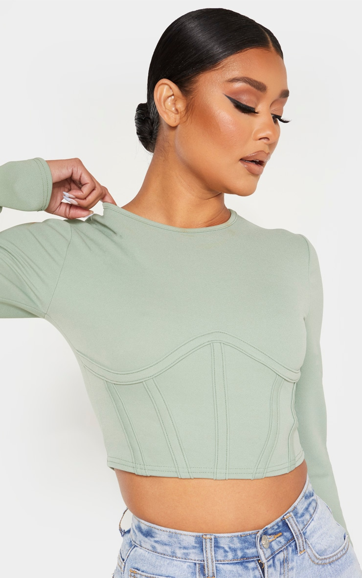 Sage Crepe Structured Underbust Crop Top 5