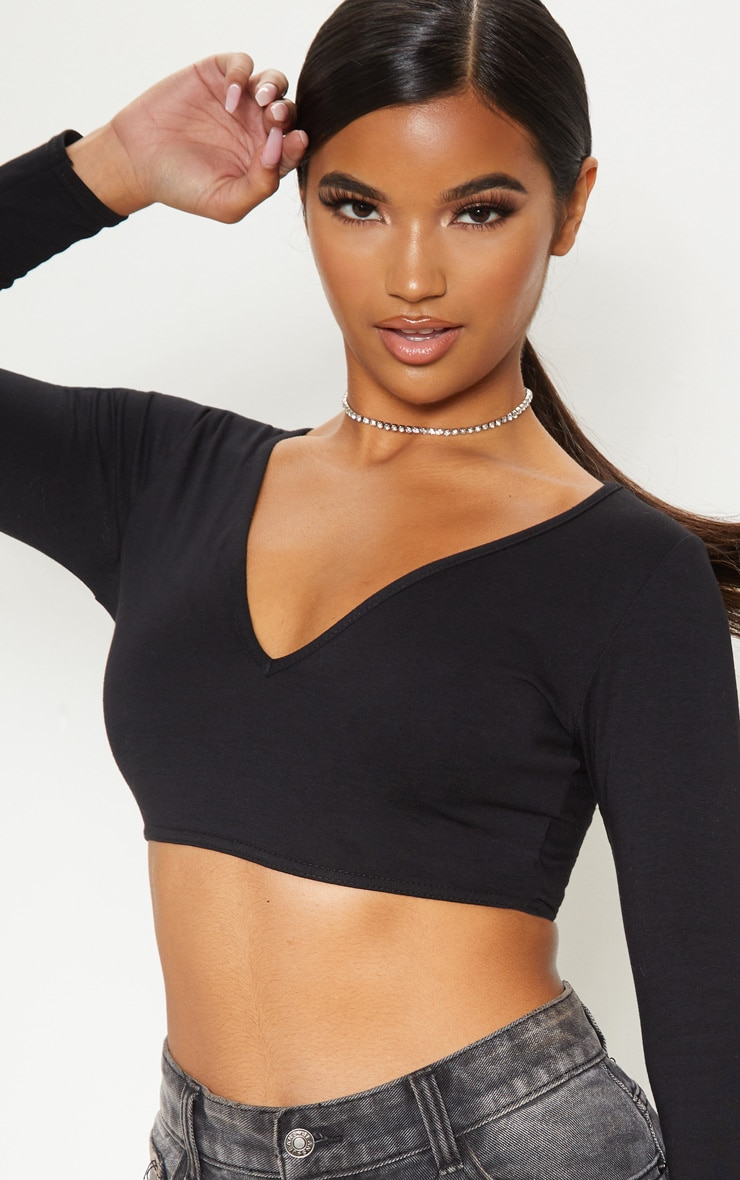 Basic Black Longline Long Sleeve Top 5