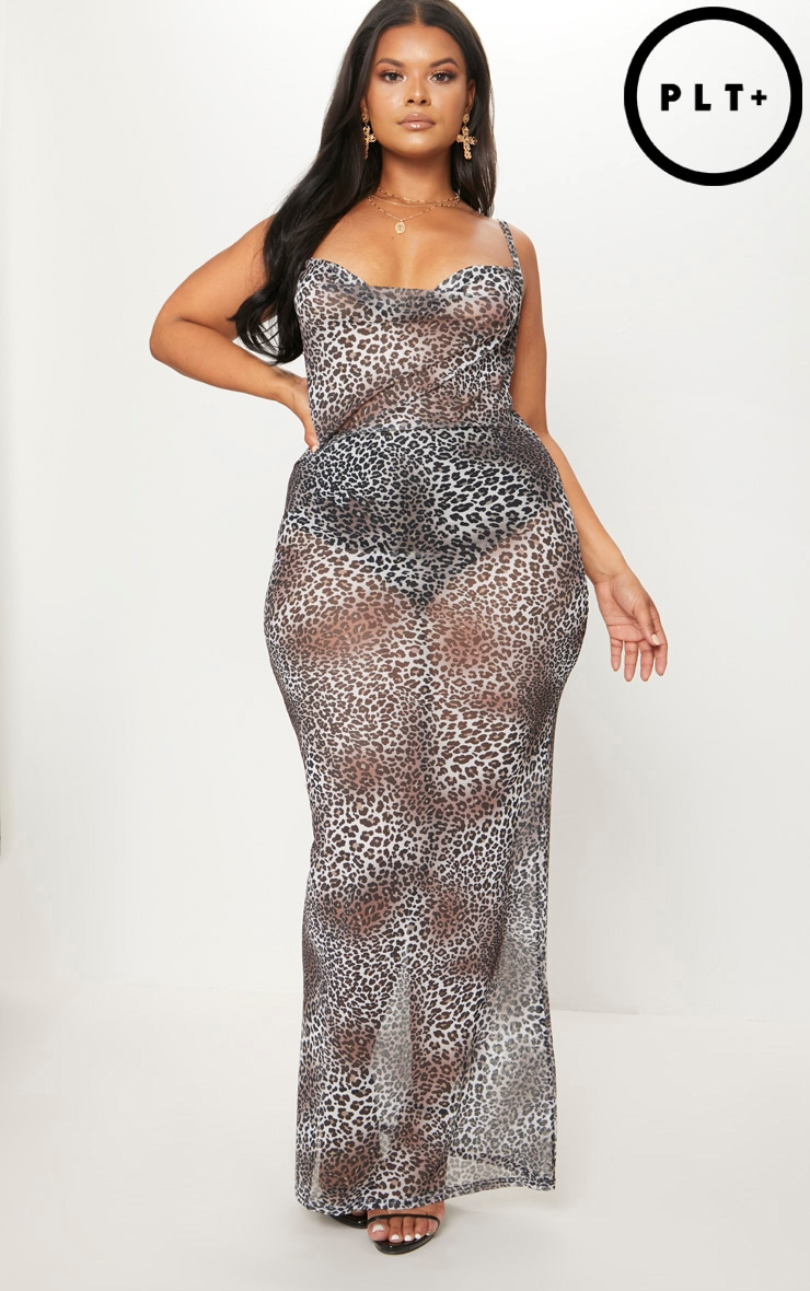 Plus Brown Mesh Leopard Print Maxi Dress 1