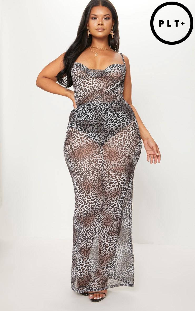 Plus Brown Mesh Leopard Print Maxi Dress