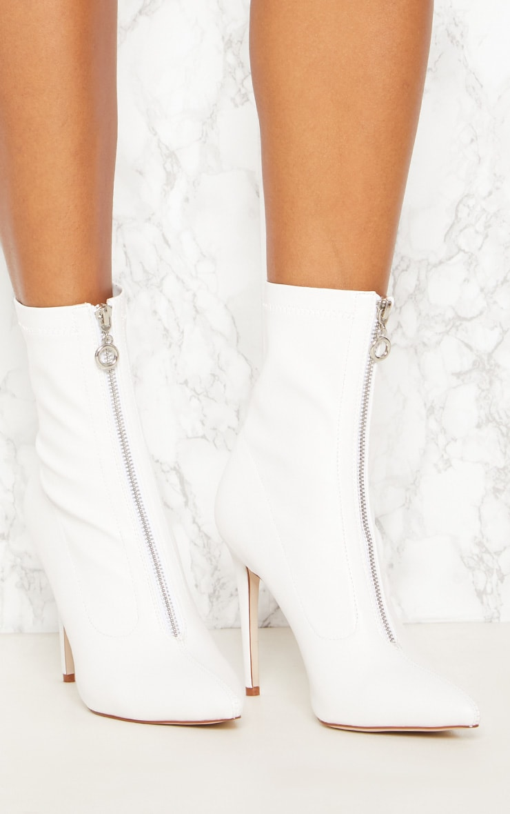 White Faux Leather Zip Front Sock Boot 5