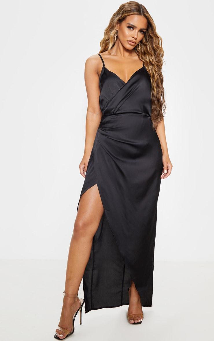 Petite - Robe longue satinée noire détail portefeuille 1