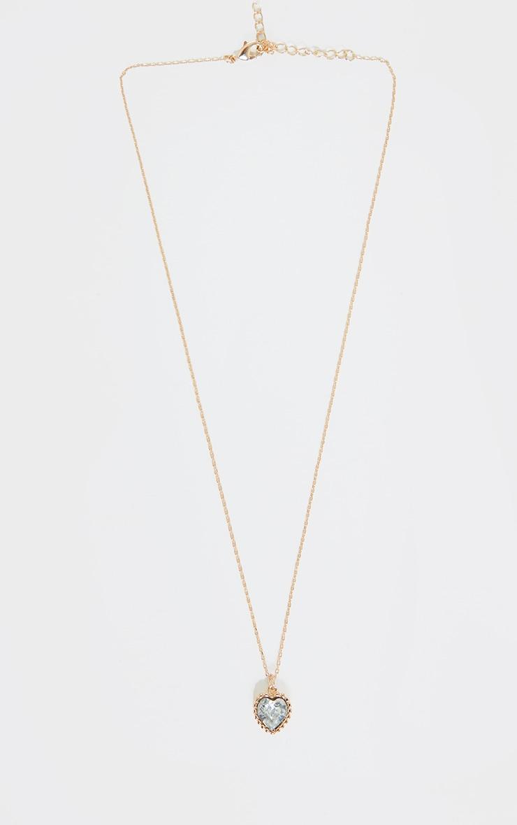 Gold Mini Diamante Heart Charm Necklace 3