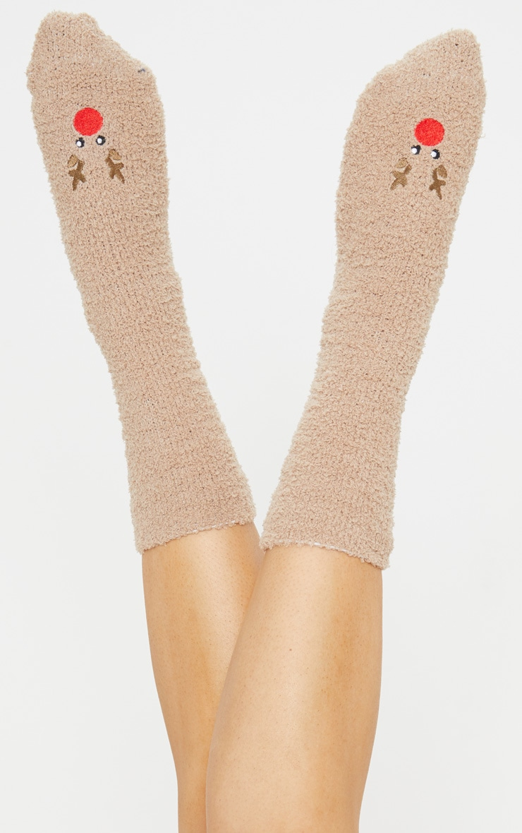 Brown Reindeer Fluffy Socks