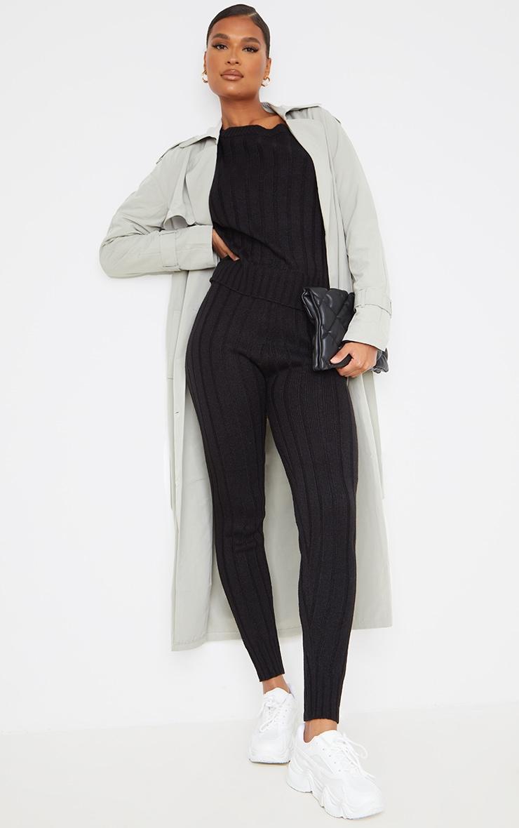 Black Off The Shoulder Sweater And Legging Lounge Set 3