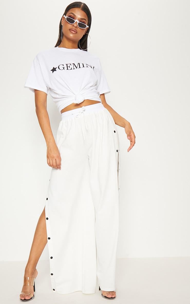 White Gemini Star Sign Slogan Oversized T Shirt  4