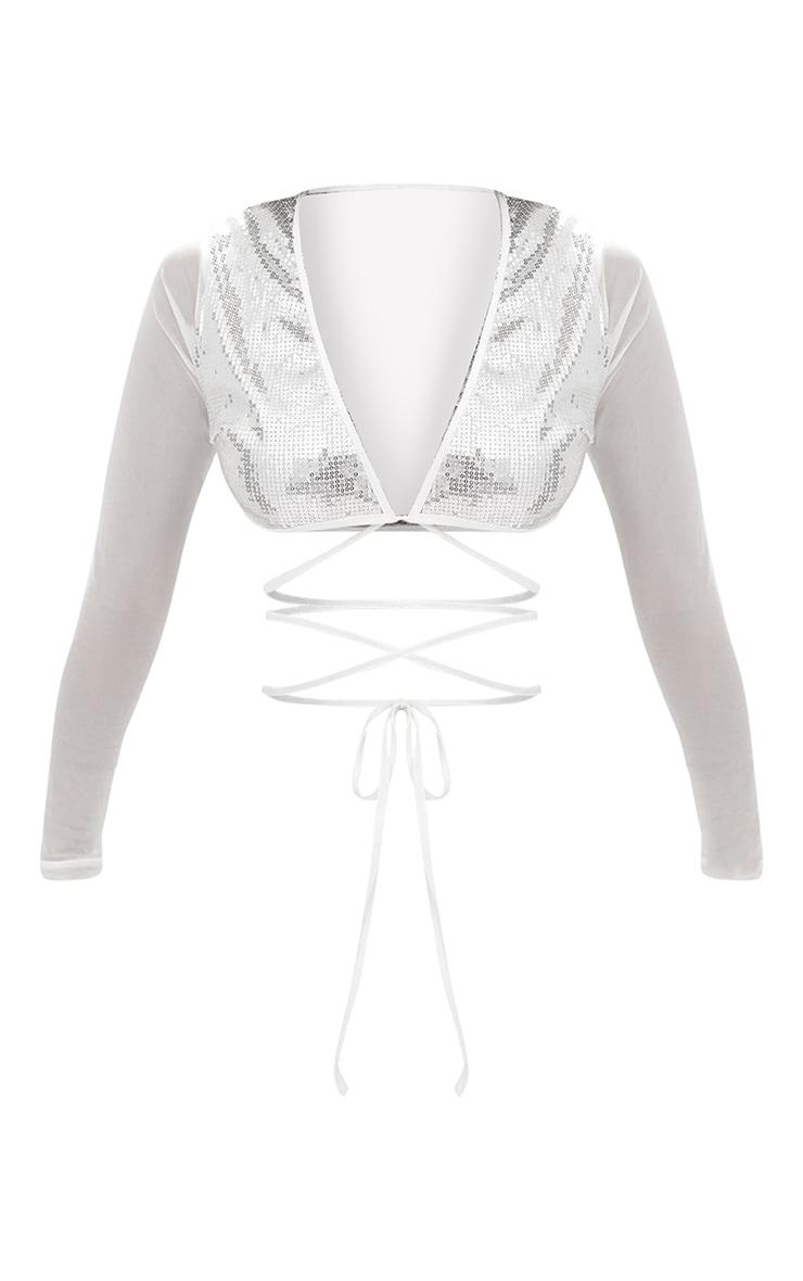 Silver Sequin Plunge Front Tie Top 3
